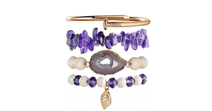 4 piece Gold Nail bangle bracelet Amethyst Stretch Bead Bracelet set-Ella Moore