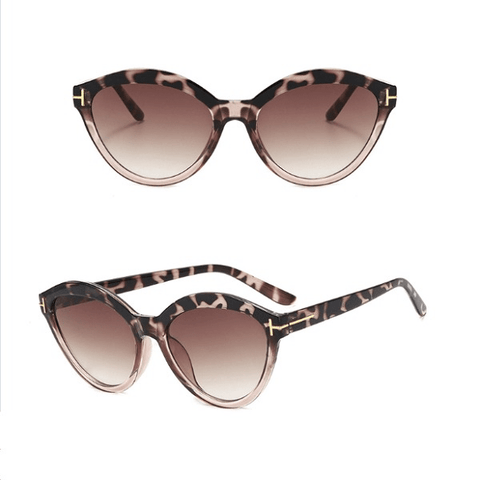 Beige Mocha Leopard Animal Print Cat Eye Women Sunglasses - Ella Moore