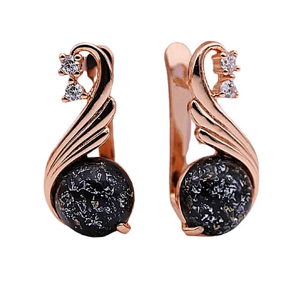 black amber cz  rose gold dangling earrings - ella moore