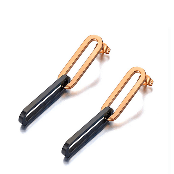 Black & Rose Gold Chain Link Earrings - Ella Moore