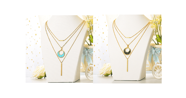 Blue & Black Turquoise Moon Shaped Stone Gold Multi Layered Necklace - Ella Moore
