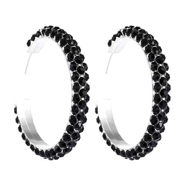 Black  C-shaped Gold Rhinestone Hoop Silver Earrings - Ella Moore