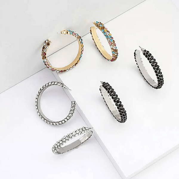 Black Silver Colorful  C-shaped Gold Rhinestone Hoop Earrings - Ella Moore