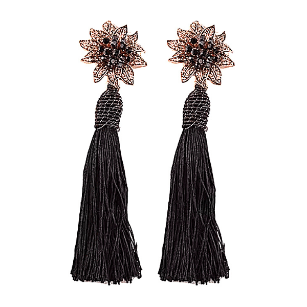 Black Rhinestone Flower Tassel Drop Danging Earrings - Ella Moore