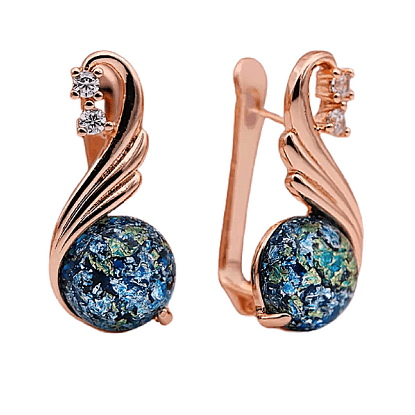 Blue amber cz rose gold dangling earrings - ella moore