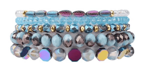 5  Piece set Blue Iridescent Natural Stone Crystal Beaded Bracelets for women