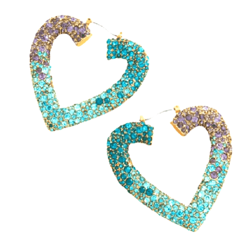 Blue Purple Large Heart Rhinestone Hoop Earrings - Ella Moore