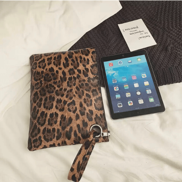 Brown Large Leopard Pouch Clutch with Wrist Strip - Ella Moore