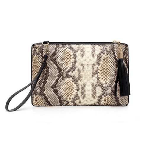 Brown Snake Skin Print Animal Print Clutch Pouch - Ella Moore