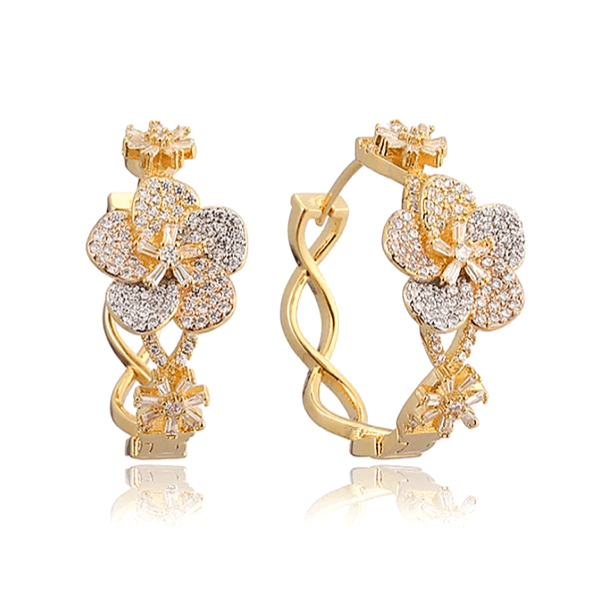 CZ Cubic Zirconia Pave Flower Floral Gold Hoop Earrings - Ella Moore