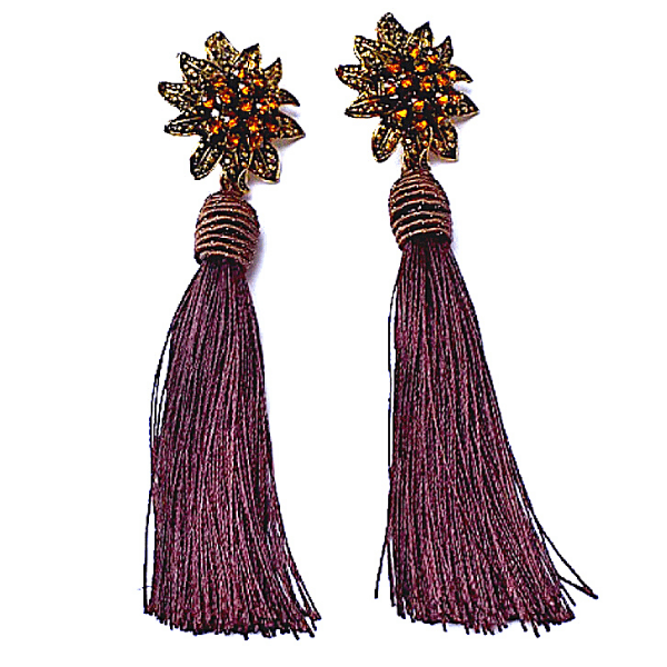 Chocolate Brown Rhinestone Flower Tassel Drop Danging Earrings - Ella Moore
