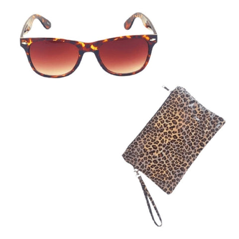 Leopard Sunglasses & Leopard Pouch Clutch Set - Classic Fashionable Leopard Sunglasses & Iridescent Brown Leopard Medium Pouch Clutch with Wrist Strap - Ella Moore