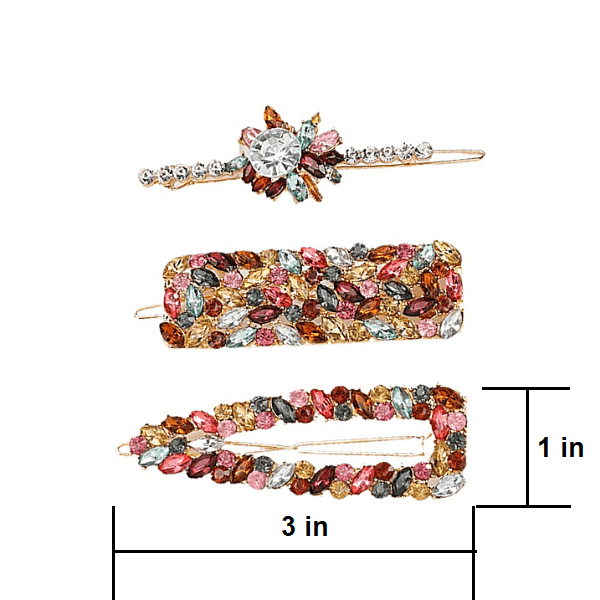 Colorful Rhinestone 3 piece Bling Jeweled Fancy Sparkling Hair Clip Barrette  set - Ella Moore