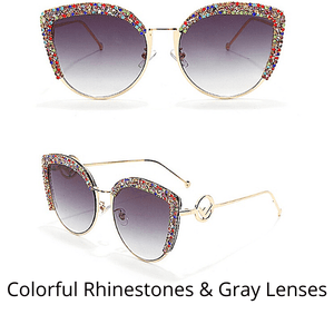 Colorful Rhinestone Sparkling Jeweled Fancy Bling Women Sunglasses with Case - Ella Moore