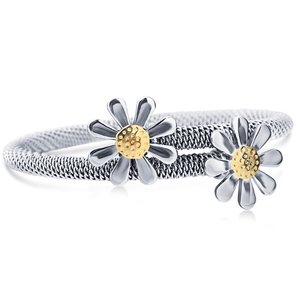 Daisy Flower Stainless Steel Bangle Bracelet - Ella Moore