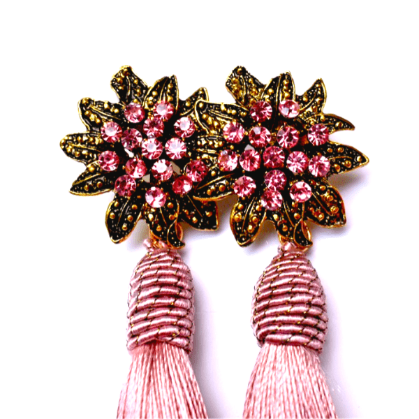 Dusty Rose Pink Rhinestone Flower Tassel Drop Danging Earrings - Ella Moore