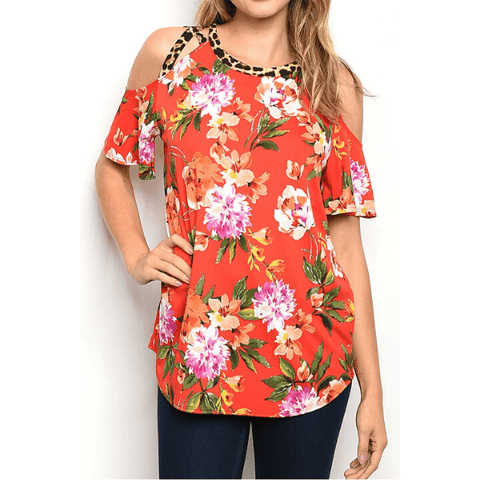 Floral and Leopard Cold Shoulder Womens Short Sleeve Top Blouse T-Shirt - Ella Moore