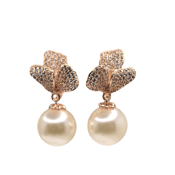 Flower Floral CZ Cubic Zirconia Drop Rose Gold Pearl Clip On Earrings - Ella Moore