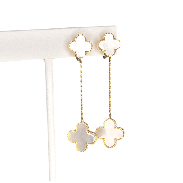 White Shell Flower Drop Dangling Yellow Gold Clip-On Earrings - Ella Moore