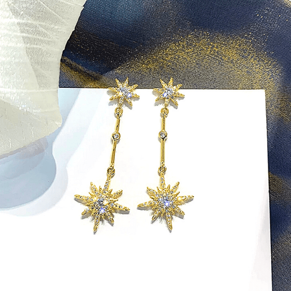 Gold Snowflake Star Dangling Earrings - Ella Moore
