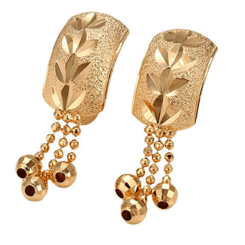 Gold Hoop Hug Huggie Tassel Earrings - Ella Moore