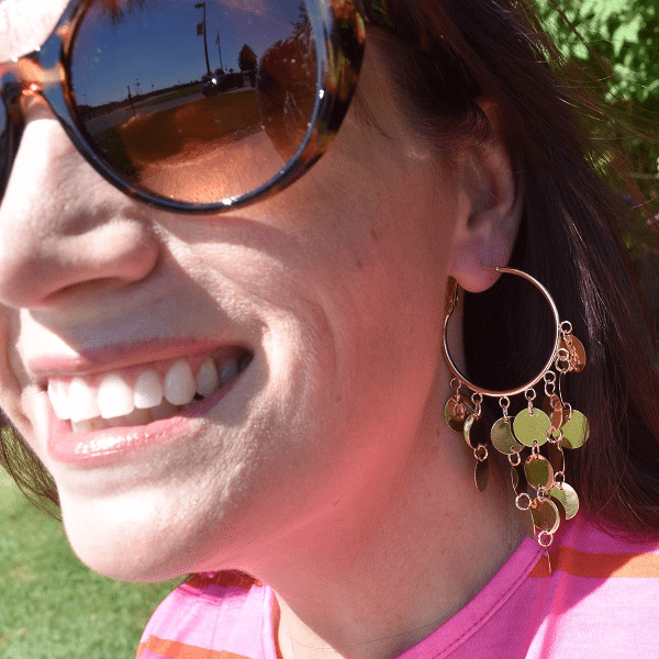 Gold Shimmering Coin Hoop Earrings - Ella Moore