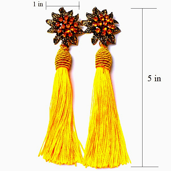 Golden Yellow Rhinestone Flower Tassel Drop Danging Earrings - Ella Moore