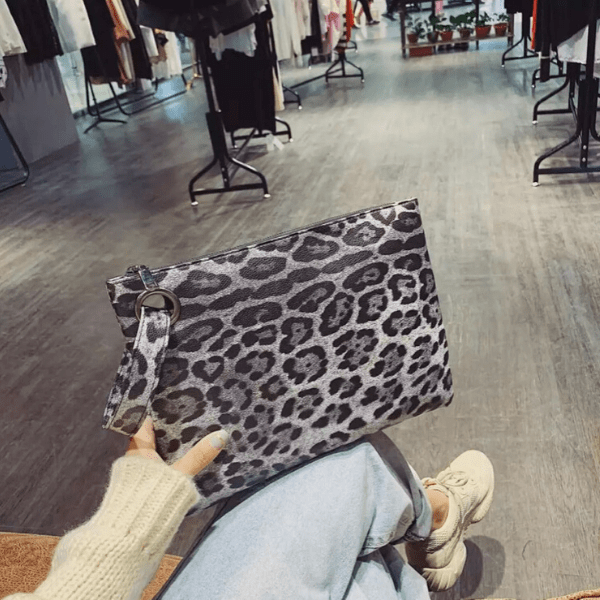 Gray Large Leopard Pouch Clutch with Wrist Strip - Ella Moore