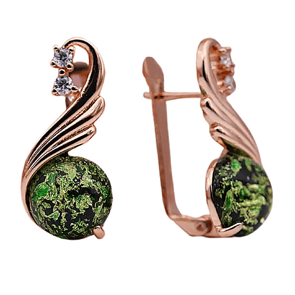 green amber cz rose gold dangling earring - ella Moore