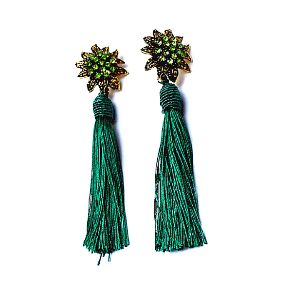 Hunter Green Rhinestone Flower Tassel Drop Danging Earrings - Ella Moore