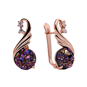iridescent agate cz rose gold dangling earrings - Ella Moore