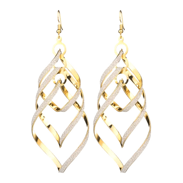 Large Gold Glittering Spiral DNA Twist Boho Drop Dangling Earrings