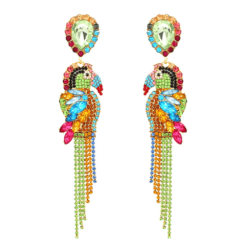 Large Multicolor Parrot Toucan Bird Rhinestone Tassel Dangling Drop Gold Earrings - Ella Moore