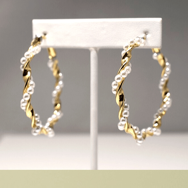 Large Pearl & Gold Twisted Hoop Earrings - Ella Moore