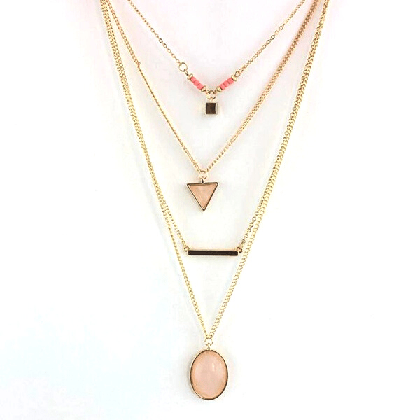 Layered Minimalist Rose Quartz Necklace