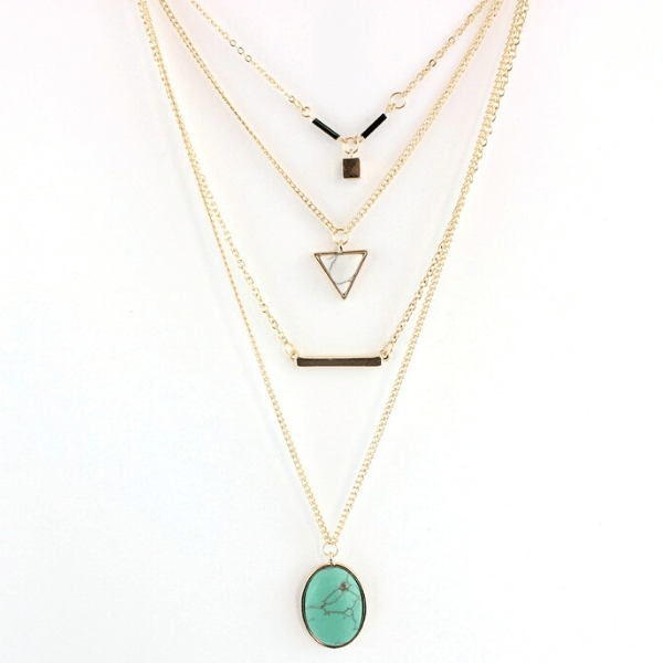 Layered Minimalist Turquoise Necklace
