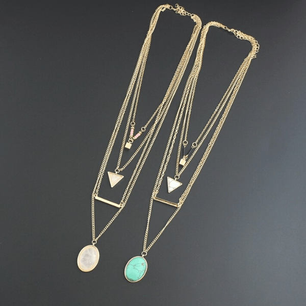 Layered Minimalist Turquoise Rose Quartz Necklace