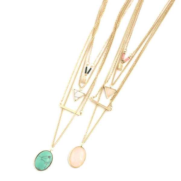 Layered Minimalist Turquoise Rose Quartz Necklace - Ella Moore