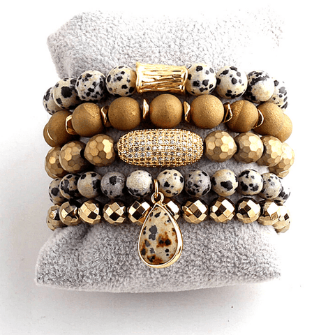 Leopard Print Natural Stone, Glass Beads and Crystal 5 Piece Stretch Bracelet Set