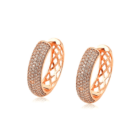 Medium 1 inch CZ Cubic Zirconia Rose Gold Hoop Earrings - Ella Moore