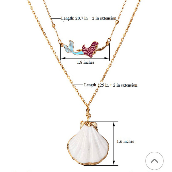 Mermaid and White Seashell Layered Gold Necklace