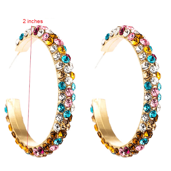 Multicolor Colorful C-shaped Gold Rhinestone Hoop Earrings - Ella Moore