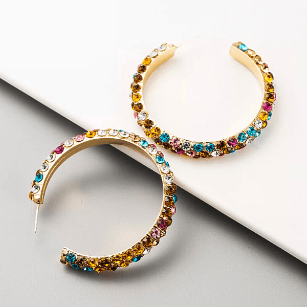 Multicolor Colorful C-shaped Gold Rhinestone Hoop Gold Earrings - Ella Moore