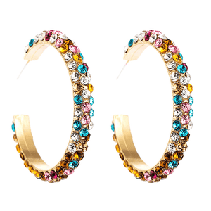 Colorful Rhinestone C shaped Large Hoop Gold Earrings - Multiple Options