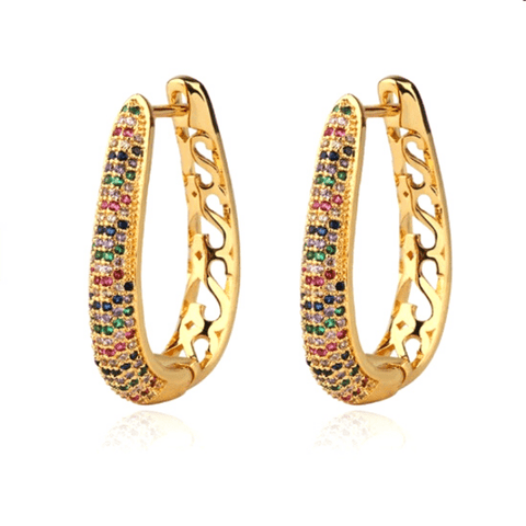 Multicolor Rhinestone Gold Bucket Hoop Earrings - Ella Moore