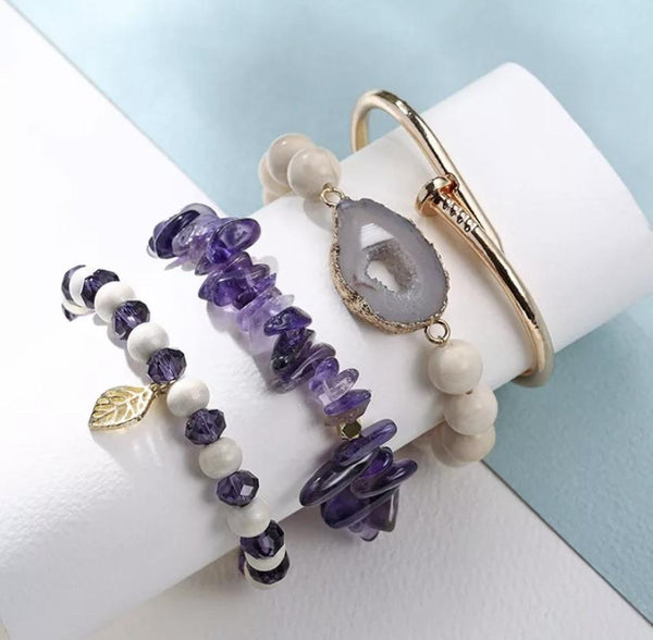 4 piece Gold Nail bangle bracelet Amethyst Stretch Bead Bracelet set