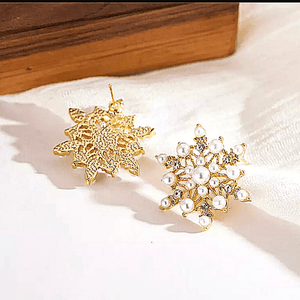Pearl Snowflake Star Gold Stud earrings - Ella Moore