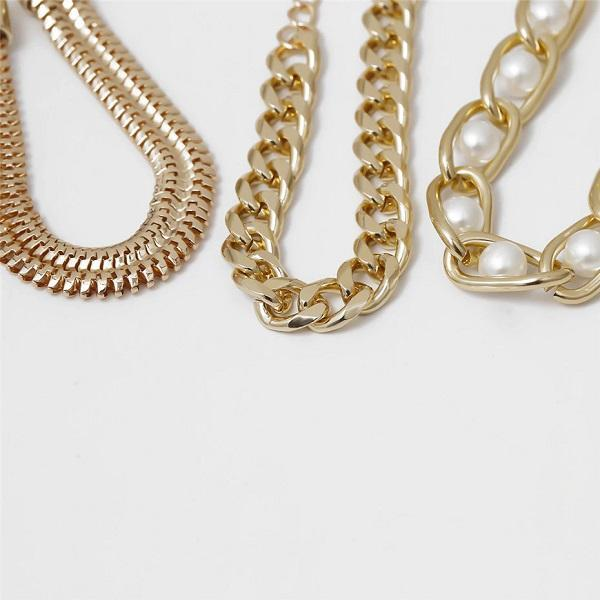 3 Piece Gold Pearl and Chain Bracelets - Ella Moore