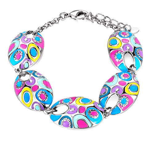 Rose Pink Blue Purple Yellow Colorful Vintage Bohemian Style Enamel Silver Bracelet - Ella Moore