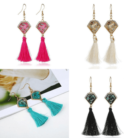 Pink Ivory Turquoise Black Diamond Shaped Tassel Dangling Earrings Set - Ella Moore